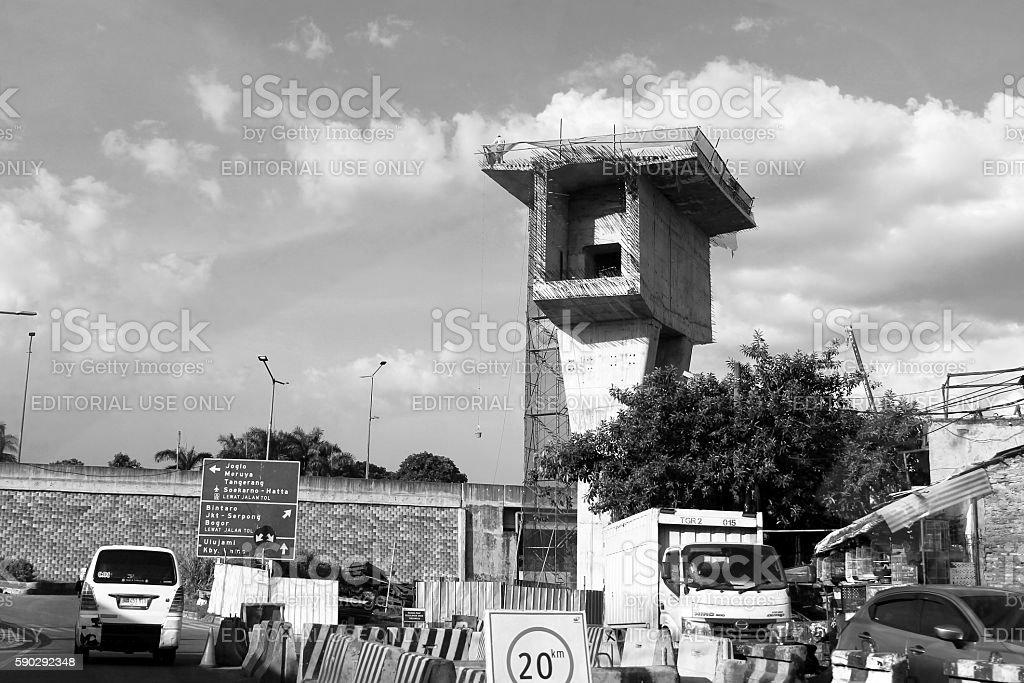 Flyover Bridge Construction Pillar Стоковые фото Стоковая фотография