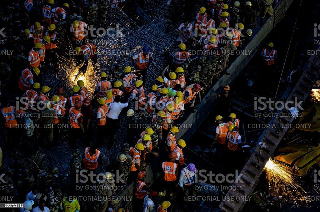 Flyover Collapse-Kolkata stock photo