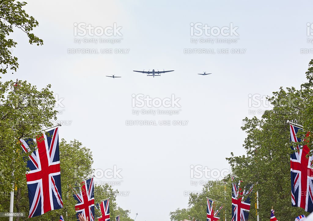 Flypast at the Royal Wedding Celebrations in London stock photo