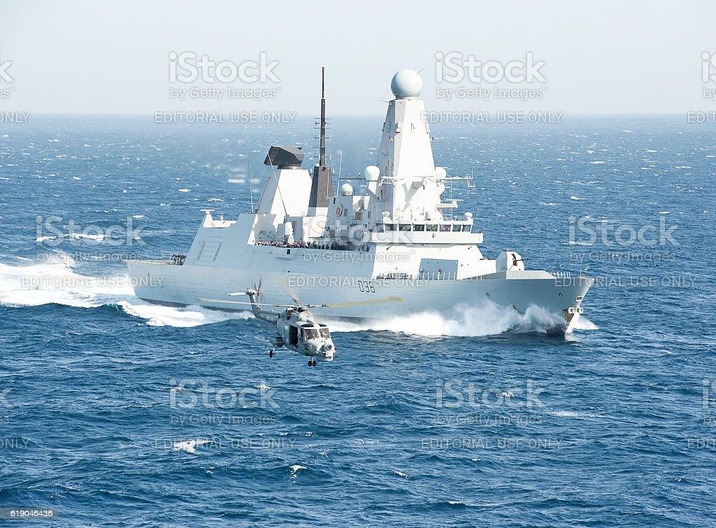 Flypast in the Arabian Sea stock photo