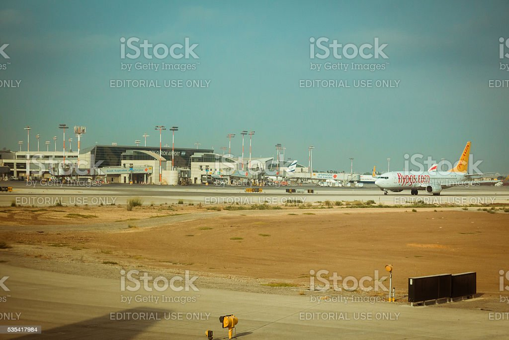 Flypgs airline plane on the runway at Ben Gurion airport. stock photo
