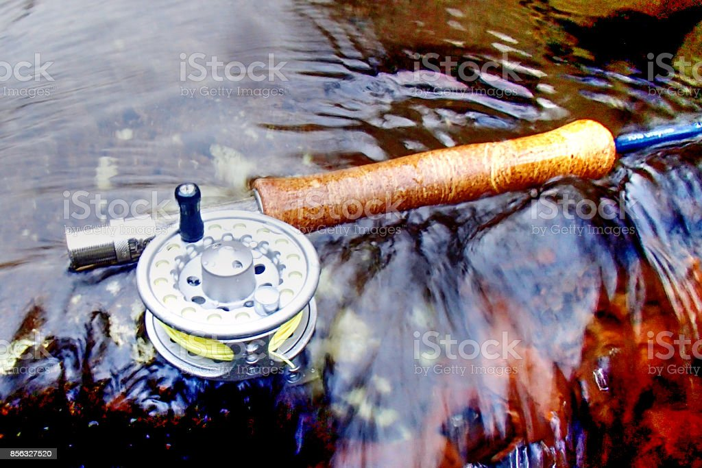 Flyrod and reel stock photo