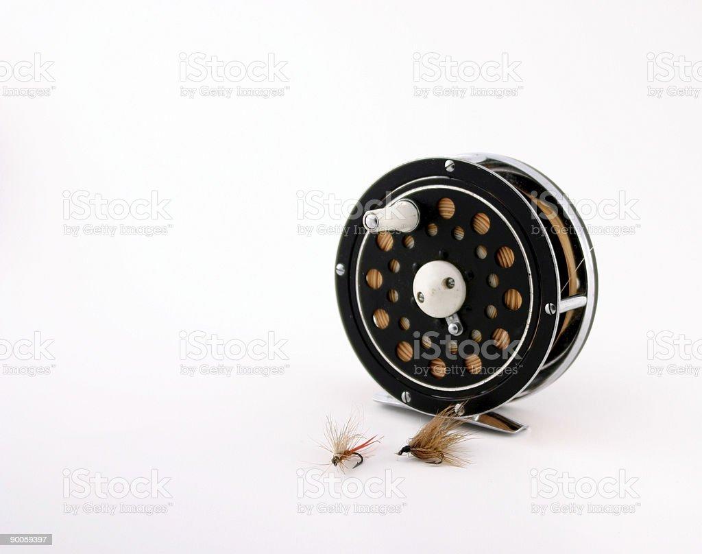Flyrod reel with Flies stock photo