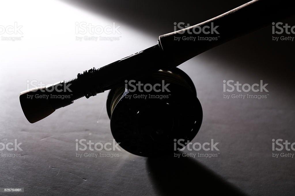 Flyrod silhouette stock photo