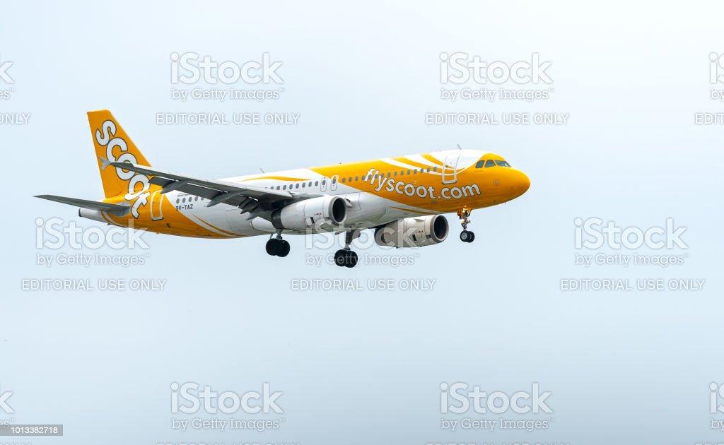 Flyscoot Flugzeug A320 von Singapore Airlines landet auf dem Tan Son Nhat International Airport – Foto