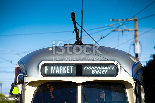 One of San Francisco's historic PCC electric streetcars running on the F-line from the Castro to Fisherman's Wharf