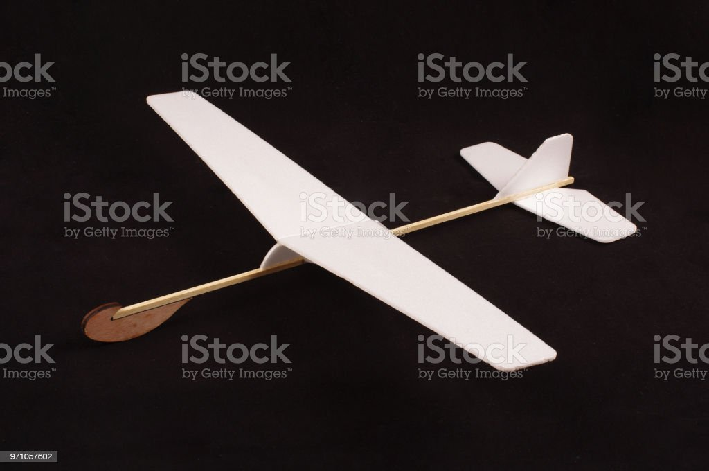 Diy Foam Board Plane Isolated On The Black Background Stock Photo