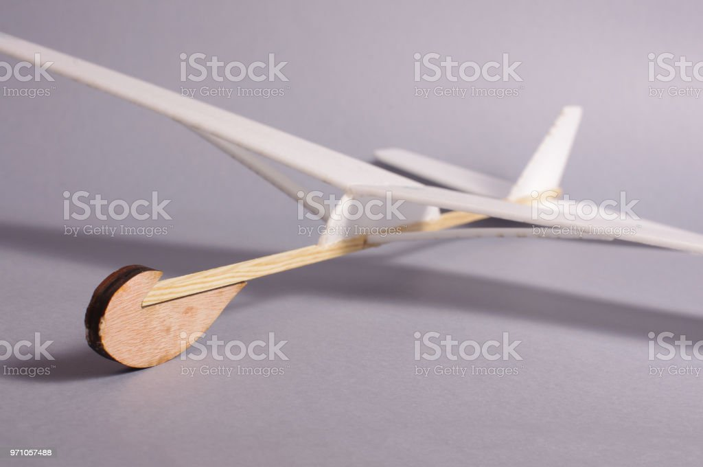 Diy Foam Board Plane Isolated On The Gray Background Stock Photo