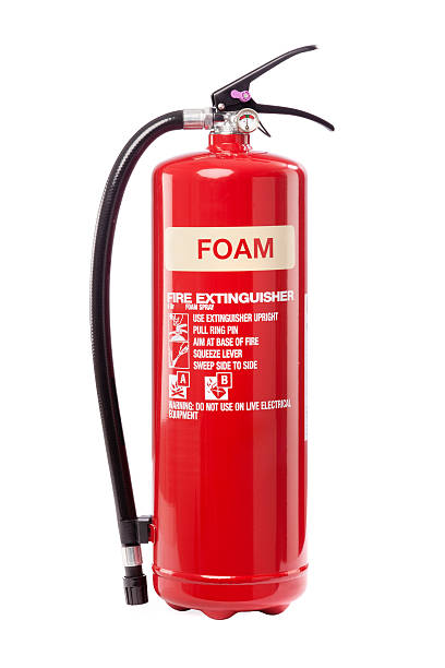 Foam fire extinguisher Foam fire extinguisher on white extinguishing stock pictures, royalty-free photos & images