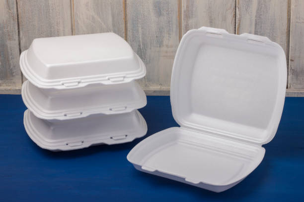 Foam for food is placed on wooden boards Foam for food is placed on wooden boards. Disposable food box polystyrene stock pictures, royalty-free photos & images