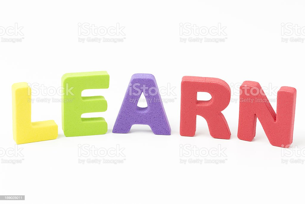 LEARN - Foam letters on white background royalty-free stock photo