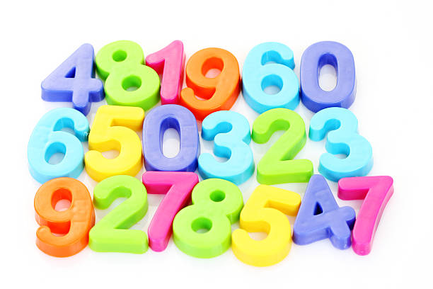 Foam numbers of various colors for math stock photo