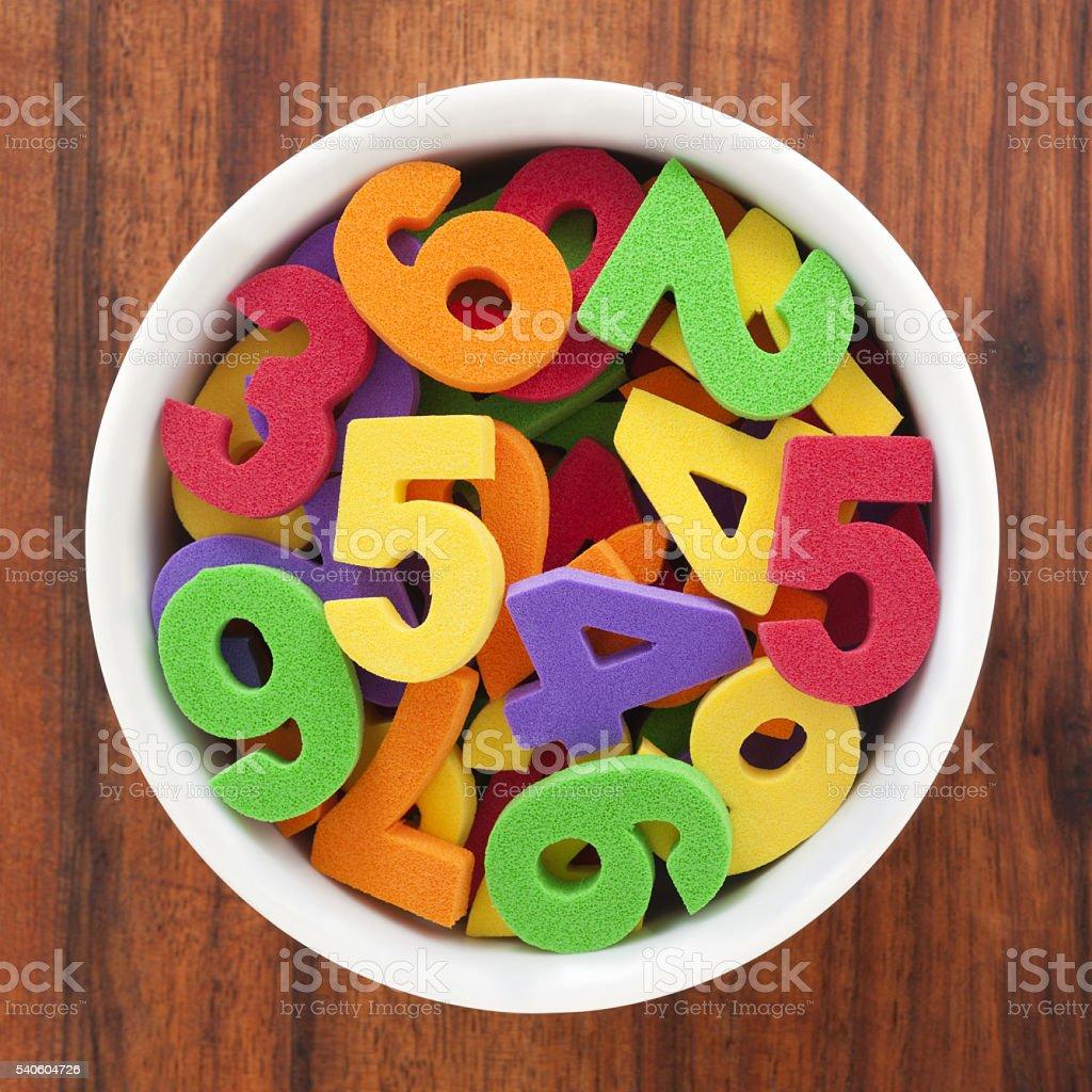 Foam numbers stock photo