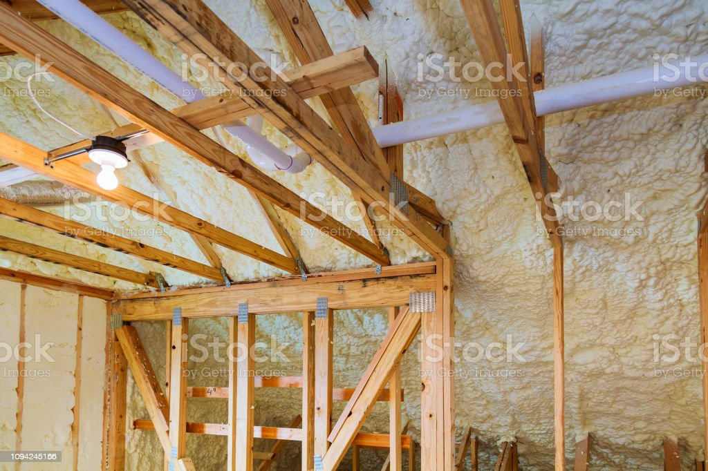 Foam Plastic Insulation Installed In The Sloping Ceiling Of New Frame House Stock Photo Download Image Now Istock