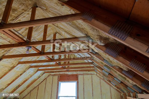 istock Foam plastic Insulation on a new roof 810168762
