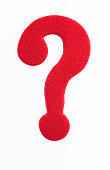 Foam question mark on white background.