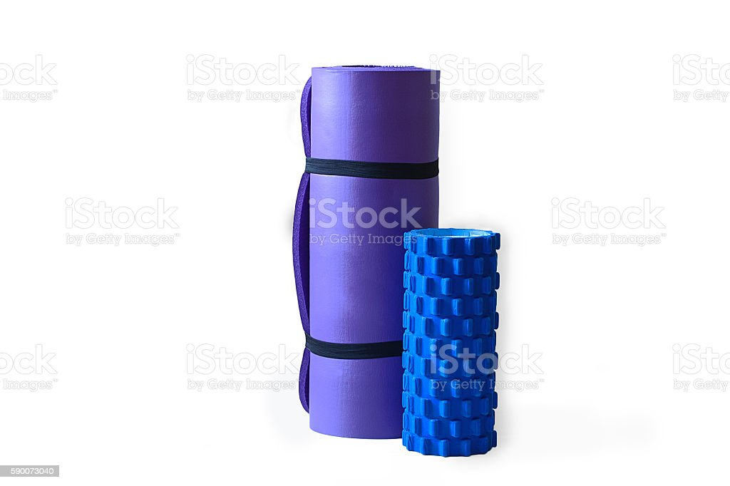 Foam Rumble Roller with Yoga Pilates Mat Isolated stock photo