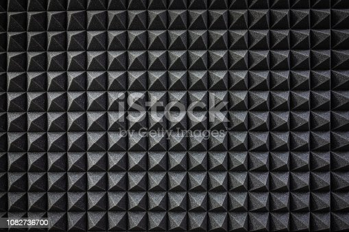 Foam soundproofing coating close-up. Recording studio details