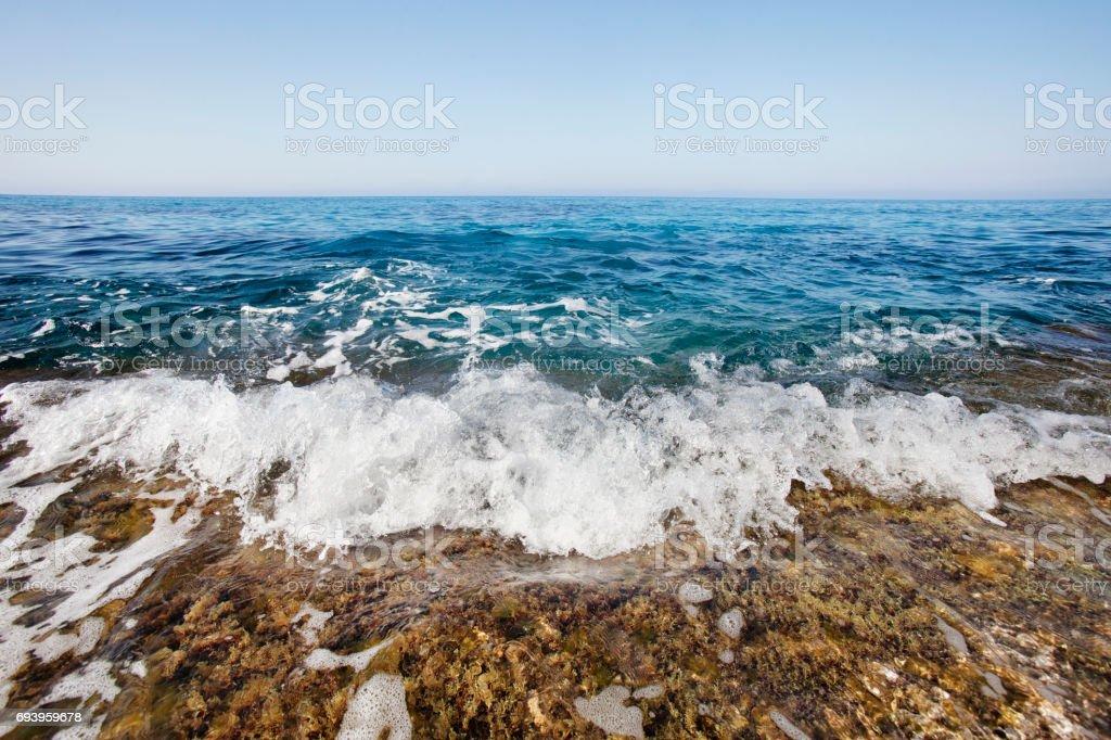 Foam Wave Cyprus Mediterranean Sea Landscape Stock Photo
