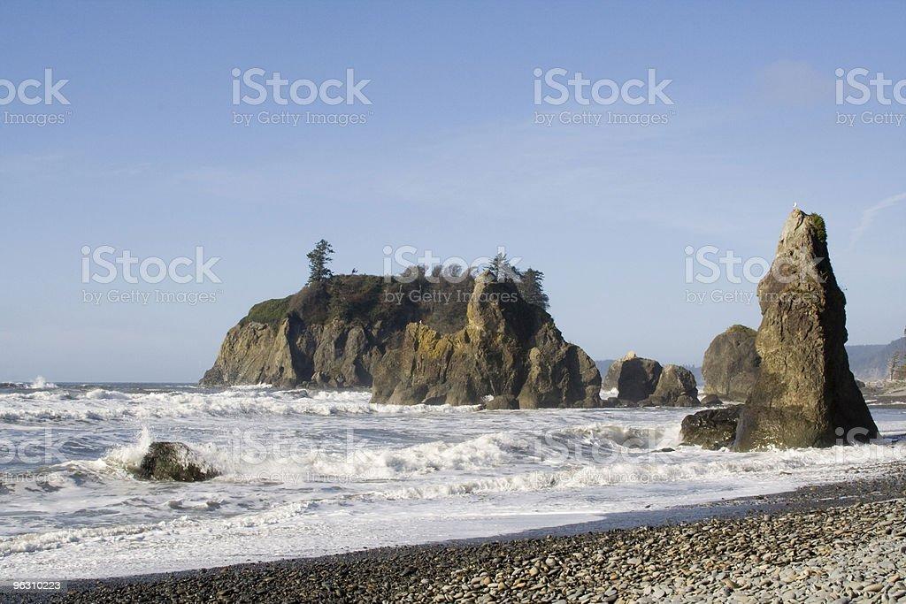 Foaming Sea and Stacks stock photo