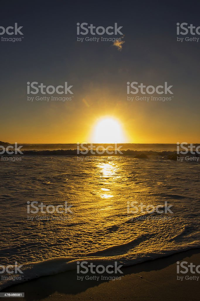 Foamy Waves at Sunset royalty-free stock photo