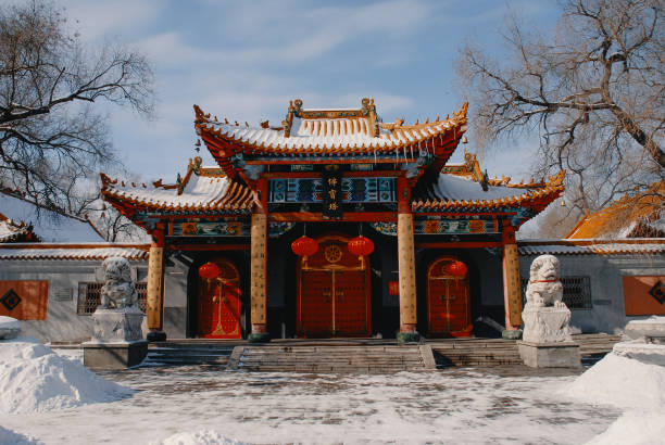 Fobao Pagoda Temple in Harbin Wide shot of Fobao Pagoda Temple during winter in Harbin China harbin stock pictures, royalty-free photos & images