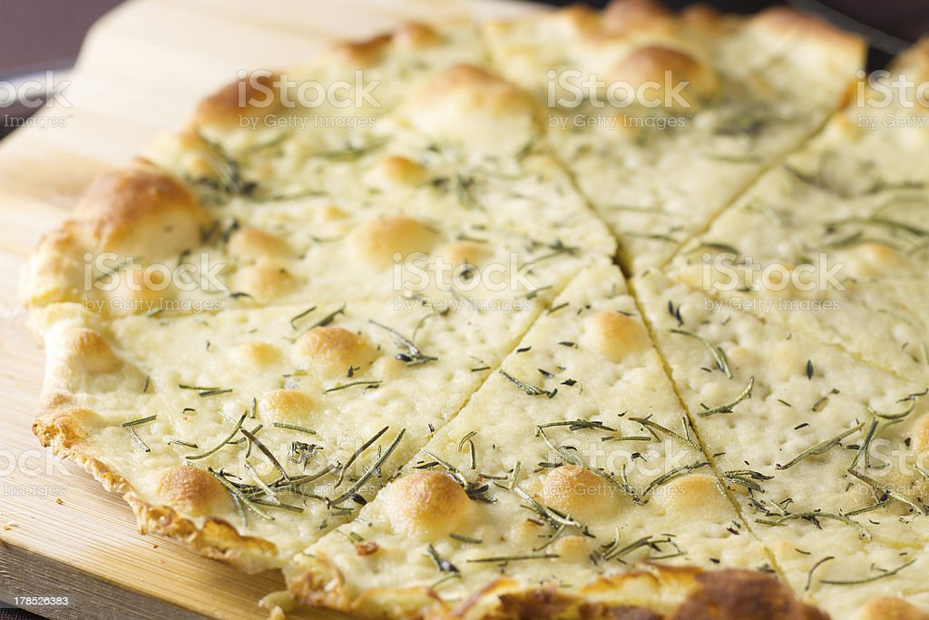 Focaccia Pizza bread with Rosemary stock photo