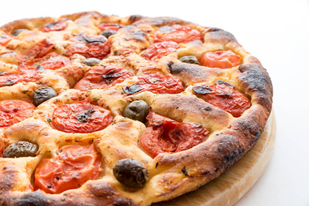 Focaccia typical of Bari Italy with tomatoes and olive – zdjęcie