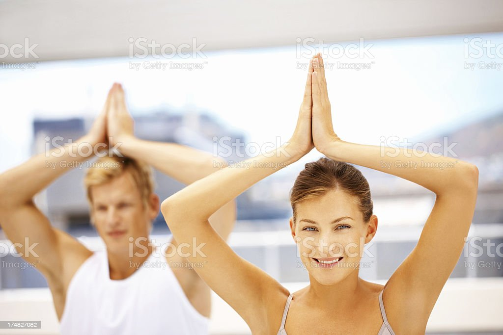 Focus, concentration and inspiration - Tree Pose royalty-free stock photo
