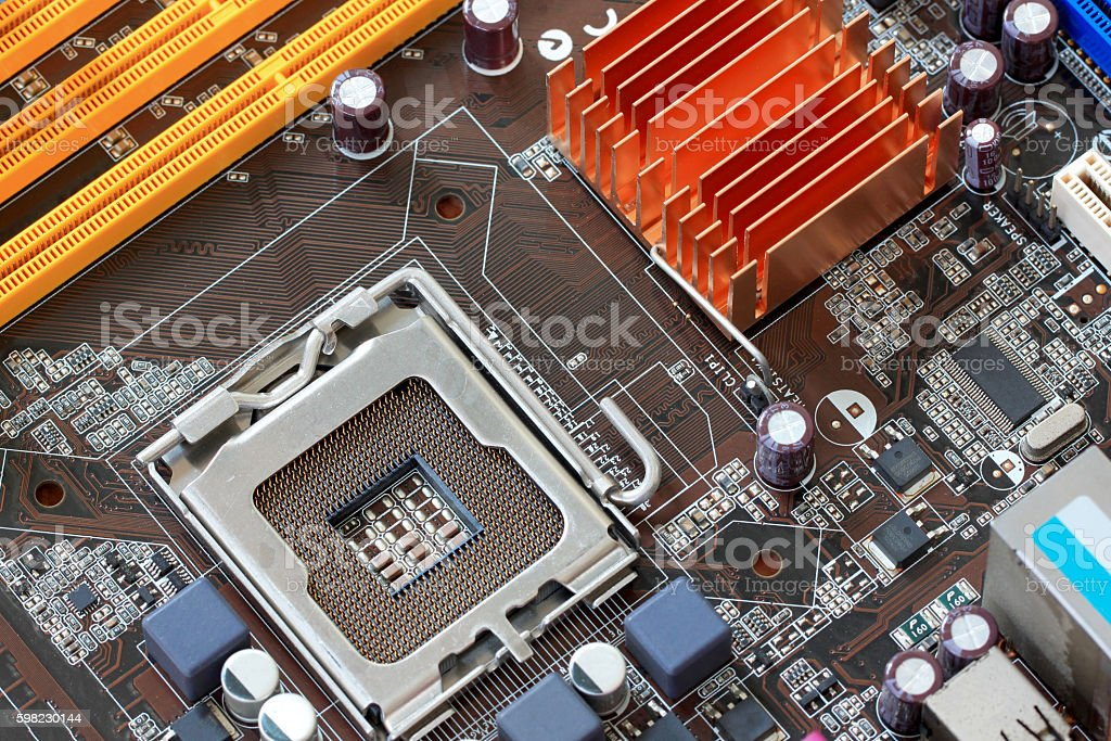 Focus CPU socket on motherboard of computer. stock photo