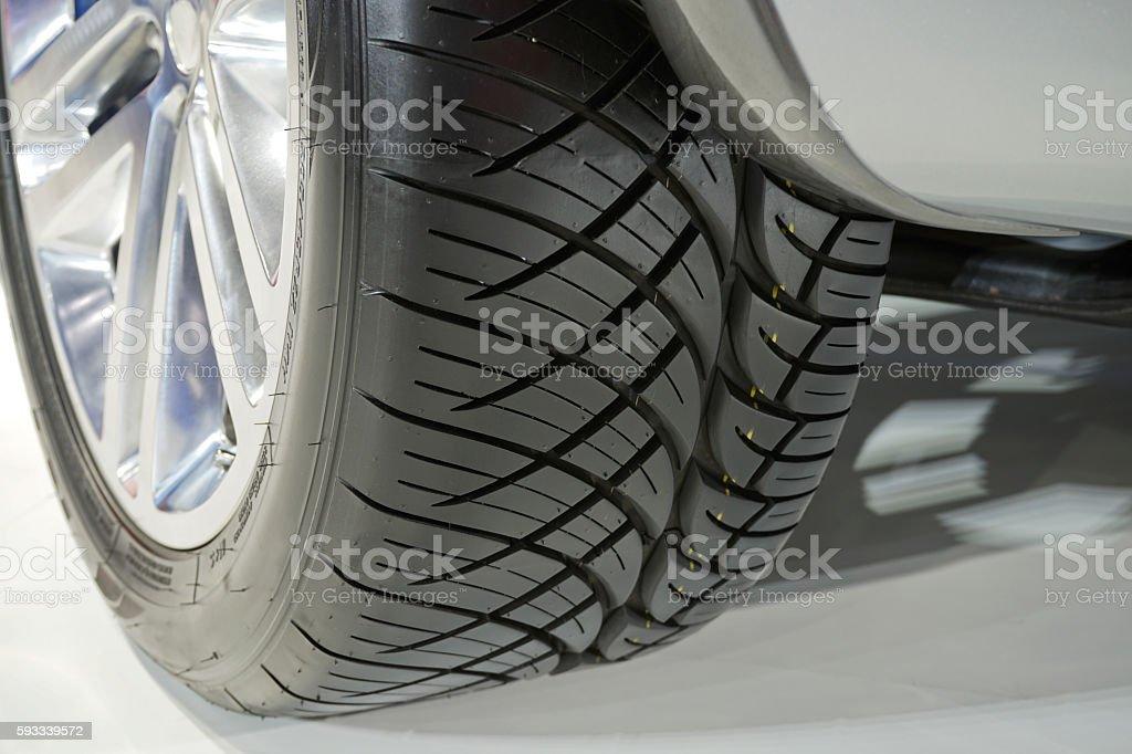 Focus in car tire. stock photo