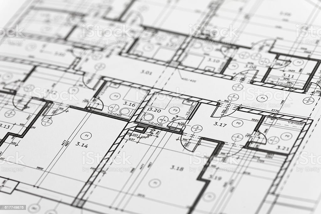 Focus on an architectonic plan stock photo
