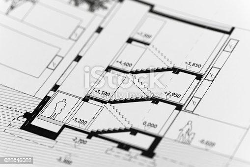 617749876 istock photo Focus on an architectonic plan 622546022