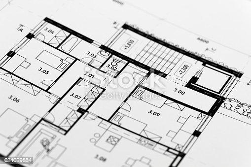 617749876 istock photo Focus on an architectonic plan 624029884
