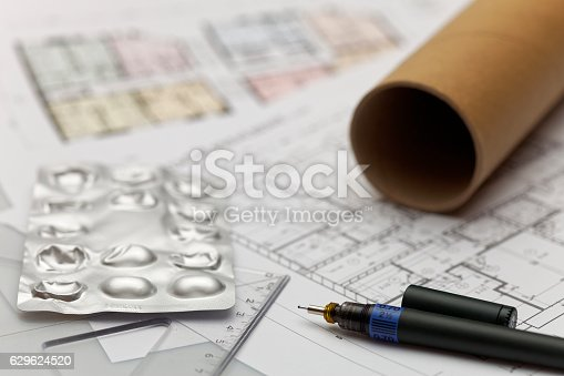 617749876 istock photo Focus on an architectonic plan 629624520