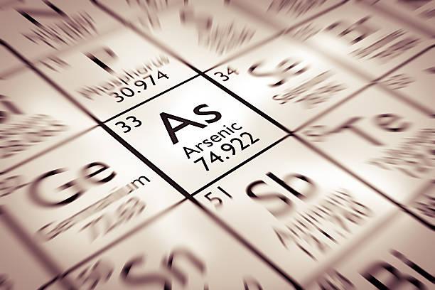 Fokus auf Arsen Chemische Element aus der Mendelejew Periodensystem der Elemente – Foto