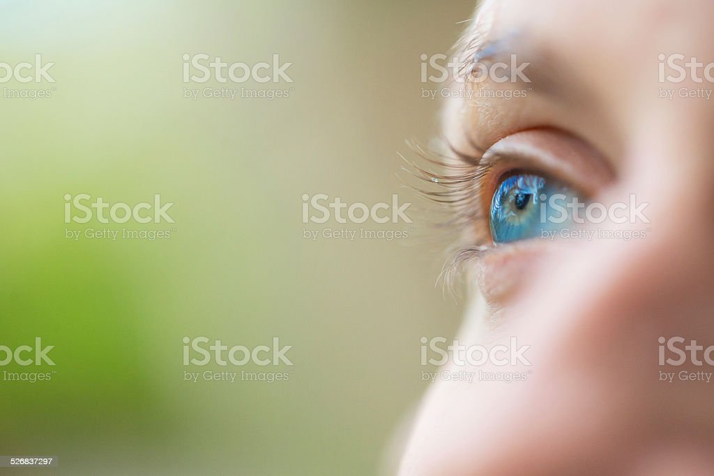 Focus on blue eyes stock photo