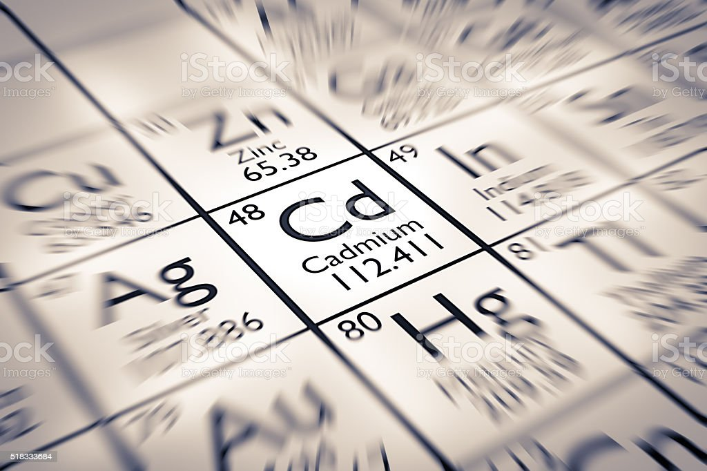 Focus on Cadmium Chemical Element from the Mendeleev Periodic Table stock photo