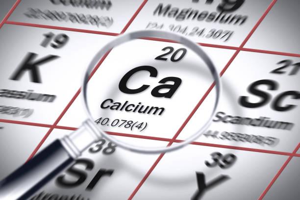 focus op calcium chemisch element-concept imago met de mendeleev periodieke tabel - calcium stockfoto's en -beelden