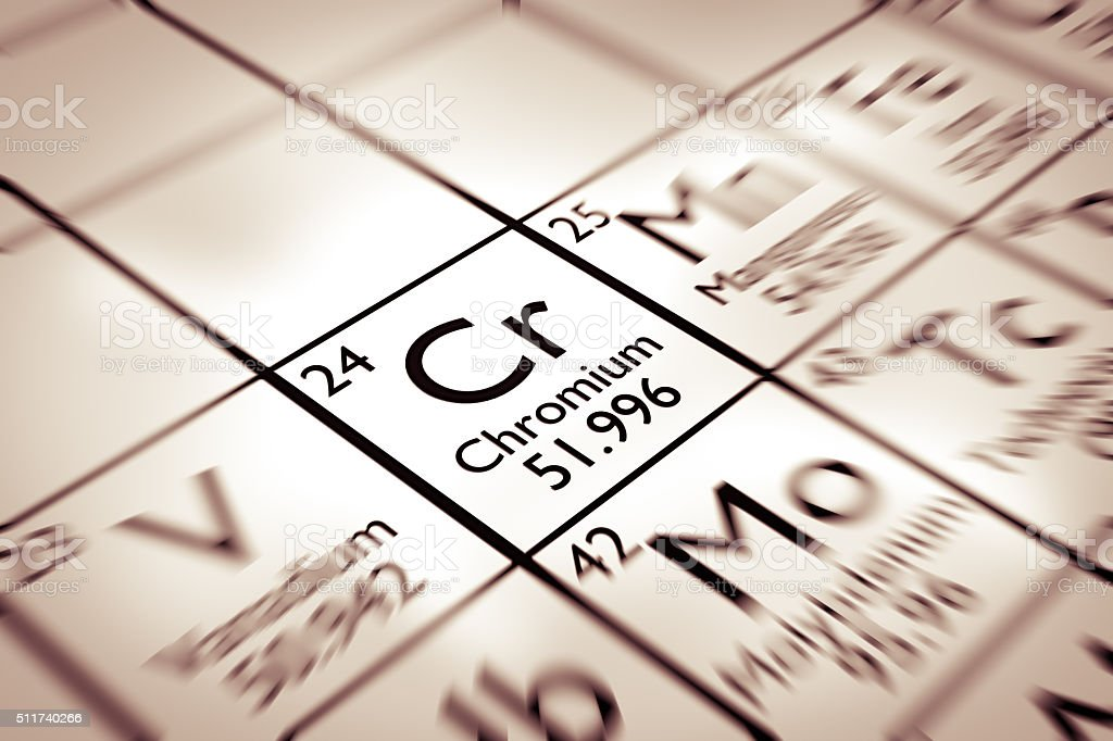 Focus on Chromium chemical element from the Mendeleev periodic table stock photo