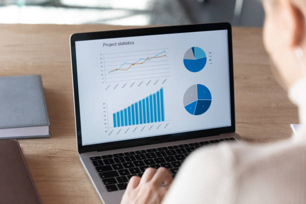 Focus on computer screen with project financial statistics. stock photo