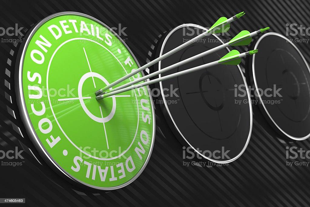 Focus on Details Slogan - Green Target. stock photo