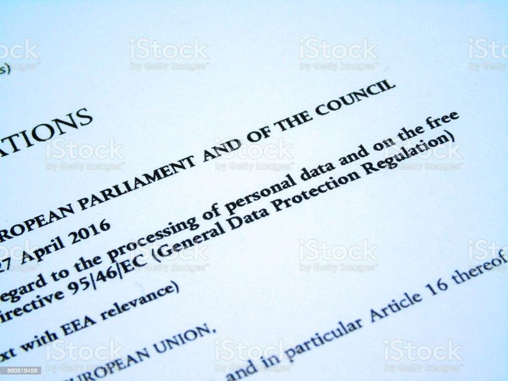 Focus on General Data Protection Regulation (GDPR) Title Wording From European Union (EU) Legislative Act stock photo