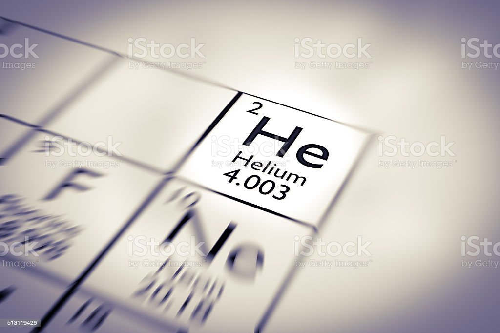 Focus on Helium Chemical Element from the Mendeleev periodic table stock photo