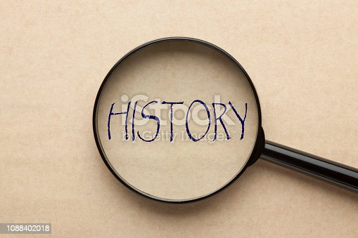 Magnifying glass focusing on HISTORY word. Business concept