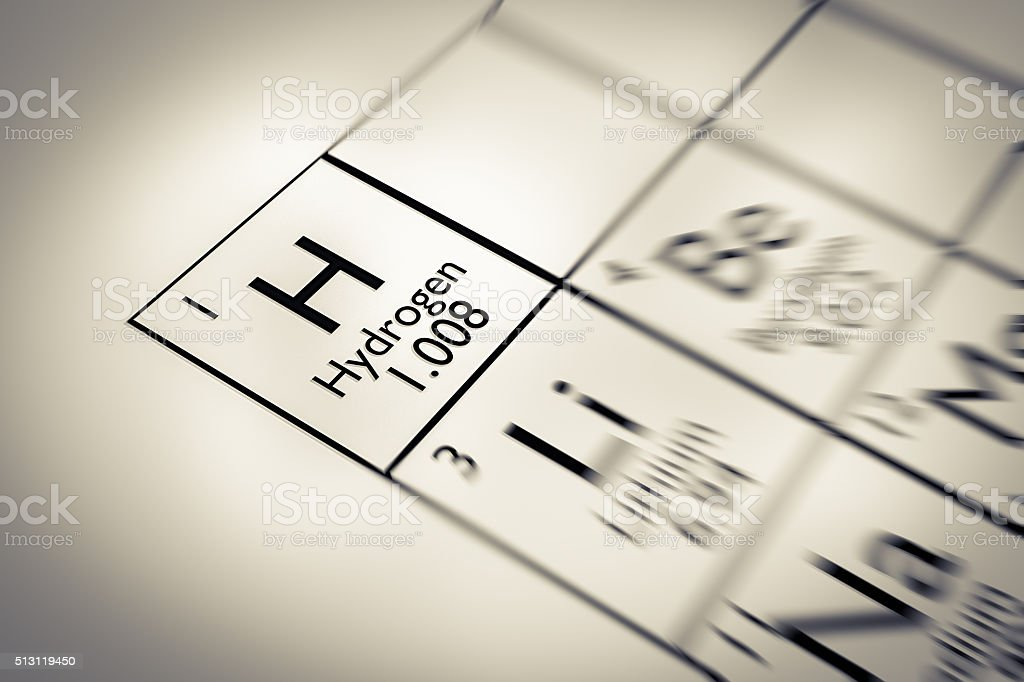 Focus on Hydrogen Chemical Element from the Mendeleev periodic table stock photo