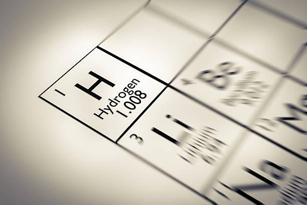 Fokus auf Wasserstoff Chemische Element vom Mendelejew Periodensystem der Elemente – Foto