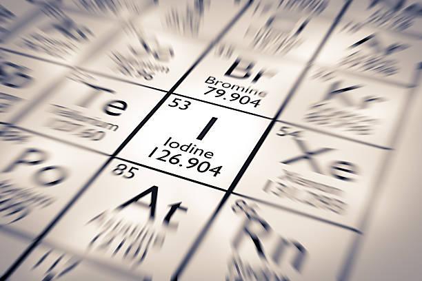 Fokus auf Jod Chemische Element vom Mendelejew Periodensystem der Elemente – Foto