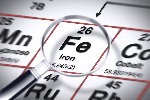 focus on iron chemical element - concept image with the mendeleev periodic table - anemia foto e immagini stock