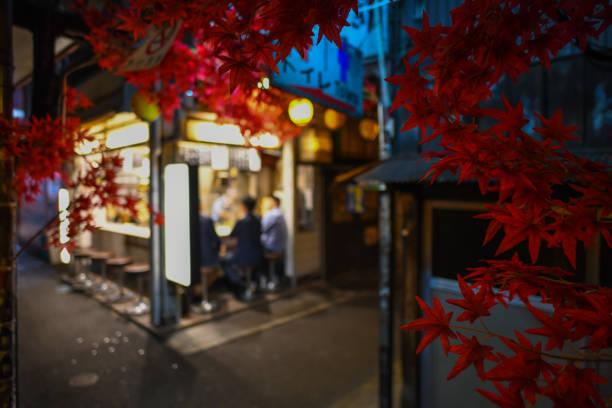 Ahornblatt mit Omoide Yokocho in Shinjuku, Tokyo Japan, der berühmte Ort für Essen und trinken Treffpunkt für Gehalt Mann nach der Arbeit im Fokus – Foto